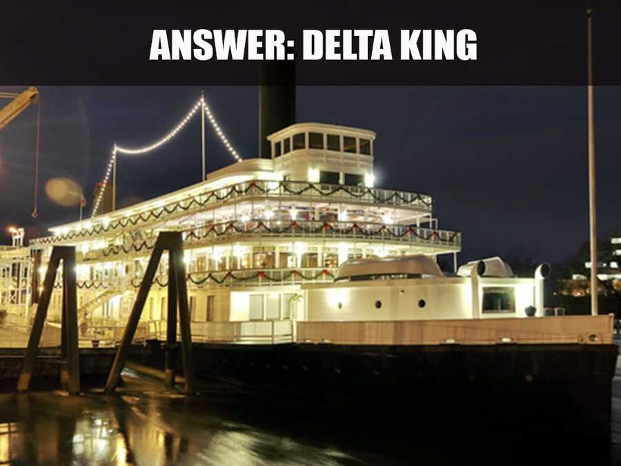 This is the Delta King, located on 1000 Front Street in Old Sacramento. According to its website, this is an authentic 285-foot riverboat that was originally built in Glasgow, Scotland and Stockton, California. (Source: https://deltaking.com/)