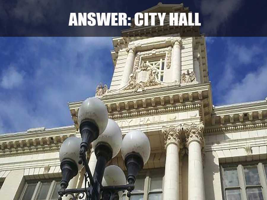 This is Sacramento City Hall, which is located at 915 I Street. It is a five-story, 267,000 square-foot building, originally constructed in 1909. (Source: http://cityofsacramento.org/)