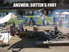 This is Sutter's Fort, located on 2701 L Street. Established by Swiss immigrant John Sutter in 1839, Sutter played an important part in the rescue of the Donner Party in 1847 and became known for his hospitality. (Source: http://www.suttersfort.org/)