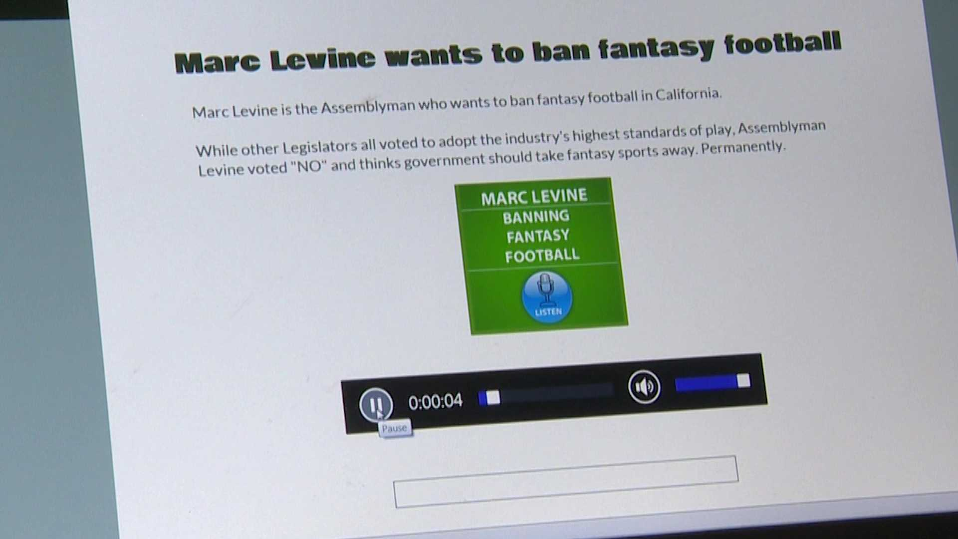 "A radio ad calls out California Assembly member Marc Levine for voting ""No"" on a bill that would allow daily fantasy sports betting to continue in California."