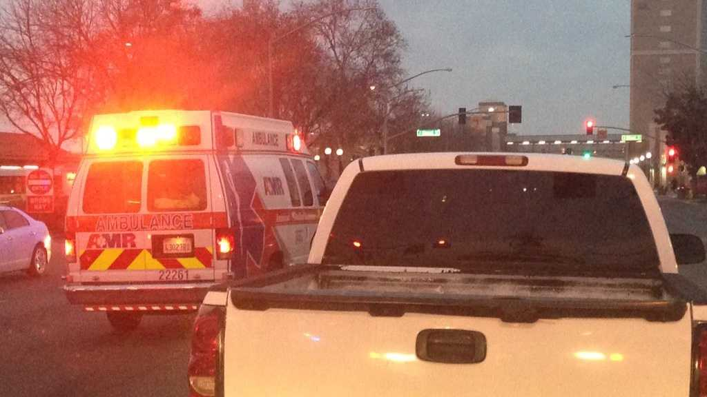 Traffic is blocked at the intersection of I and 9th streets in Modesto on Friday, Jan. 29, 2016, after a man was hit by a car, Modesto police said.