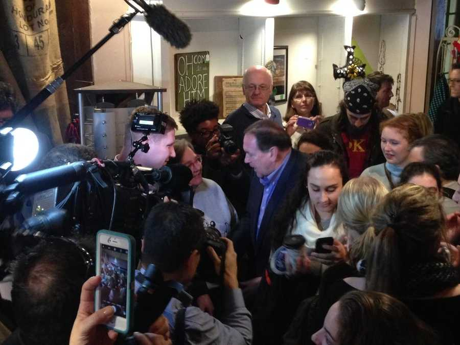 Republican candidate Mike Huckabee speaks to reporters in Iowa.