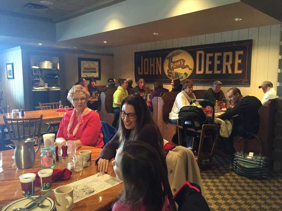 Voters gather at the Waveland Cafe the day for the Iowa caucuses.