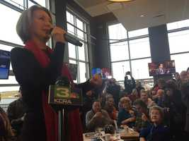Carly Fiorina speaks to voters in Iowa.