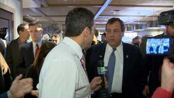 Gulstan spoke with Gov. Chris Christie at an event on the day of the Iowa Caucus. (Feb. 1, 2016)
