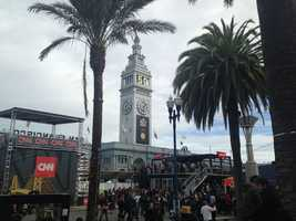 Even the iconic Ferry Building got in on some Super Bowl action.