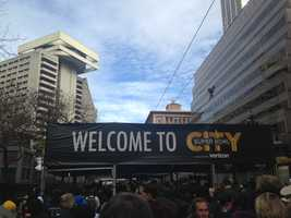 Welcome to Super Bowl City! This free area has a section of San Francisco's Embarcadero blocked off for fans to enjoy the festivities ahead of the big game.