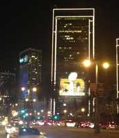 At night, the city shown bright ahead of Super Bowl 50.