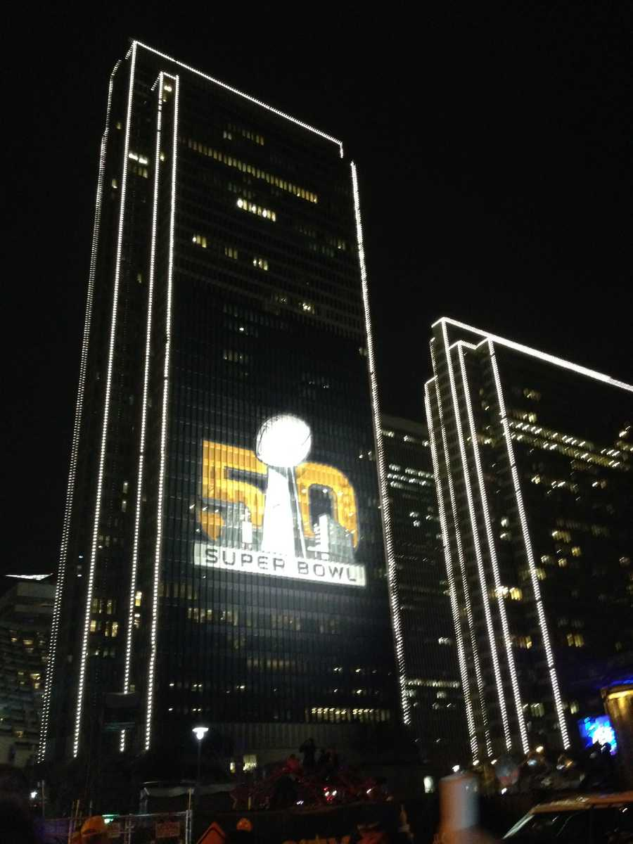 Buildings were adorned with Super Bowl 50 logos like this one next to the concert venue at Justin Herman Plaza.