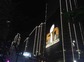 Super Bowl City lights