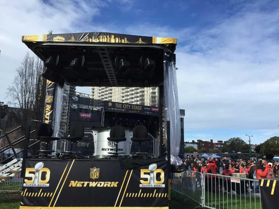 The NFL Network setup at Super Bowl City in San Francisco.