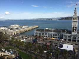 A view of Super Bowl City from the Hyatt Regency Hotel located on the Embarcadero.