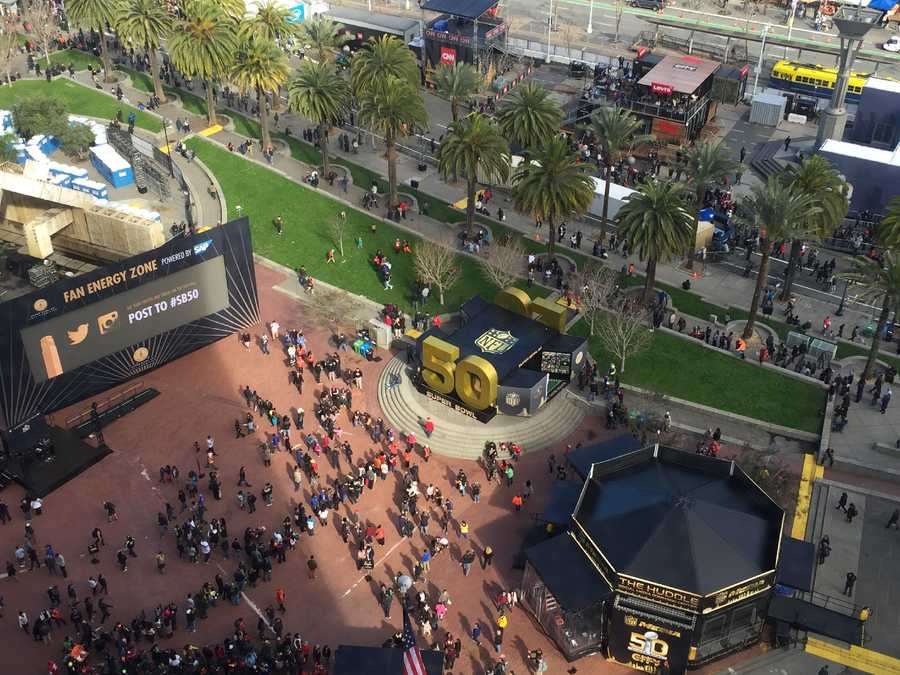 A look from the sky at Super Bowl City along San Francisco's iconic Embarcadero waterfront. (Feb. 1, 2016)