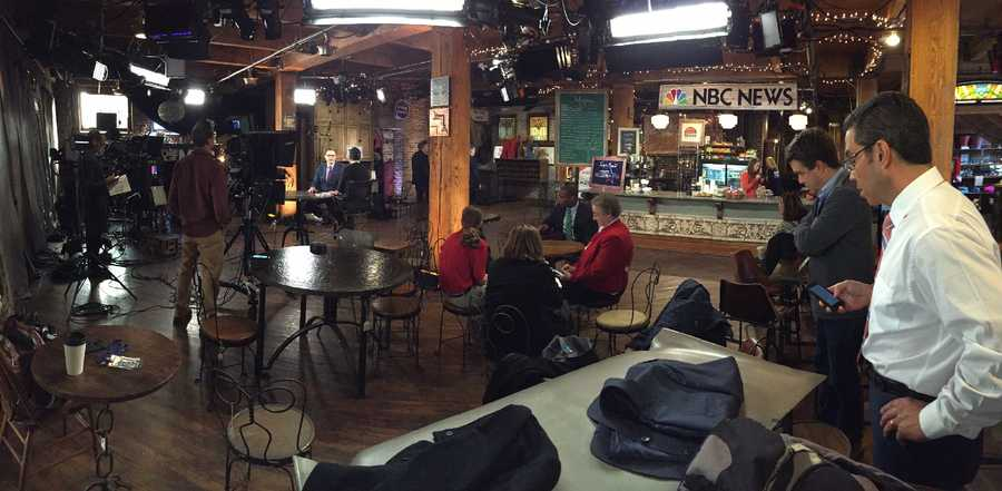 KCRA's Gulstan Dart prepares to sit down with NBC Nightly News' Lester Holt in Iowa to talk about  caucus coverage on Monday, Feb. 1, 2016.