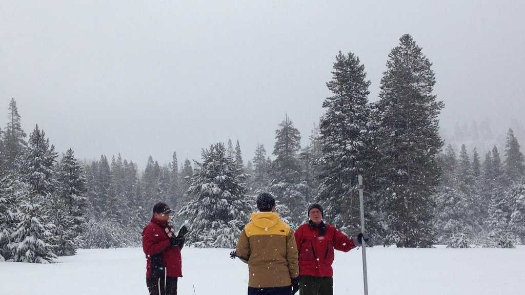 The Sierra snowpack survey was at 130 percent of average for the date in Phillips, Calif. (Feb. 2, 2016)