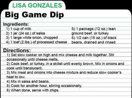 KCRA Anchor Lisa Gonzales shares this Big Game Dip recipe. She said you can enjoy the dip with sides of sour cream, guacamole, grated Mexican blend cheeses and green onions. Enjoy!