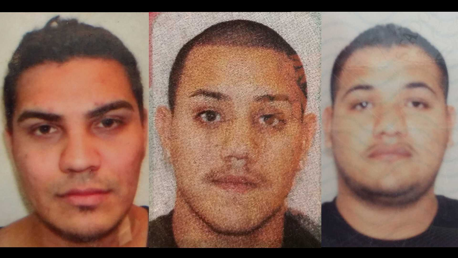 Ruben Villejas, 26 (left), Dimas Licea Ortiz, 22 (middle), Jose Luis Ortiz, 20 (right), are at large, the Placer County Sheriff's Office said.