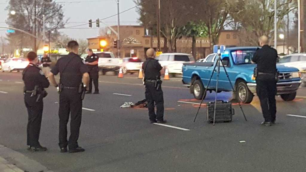 Modesto police are investigating the cause of a crash where a pedestrian was hit by a pickup truck Monday evening. Police have marked off the pickup truck and clothes that were left at the scene.