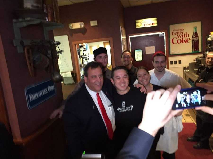 Chris Christie was seen working every corner of the room, taking pictures, shaking hands and gave out at least one hug in Derry restaurant.