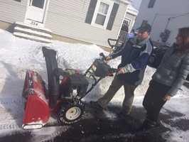 People had to clear out of the snow in Manchester, New Hampshire. Edie spoke with voter Keith Veale as he plowed snow from his driveway. A record voter turnout is expected.