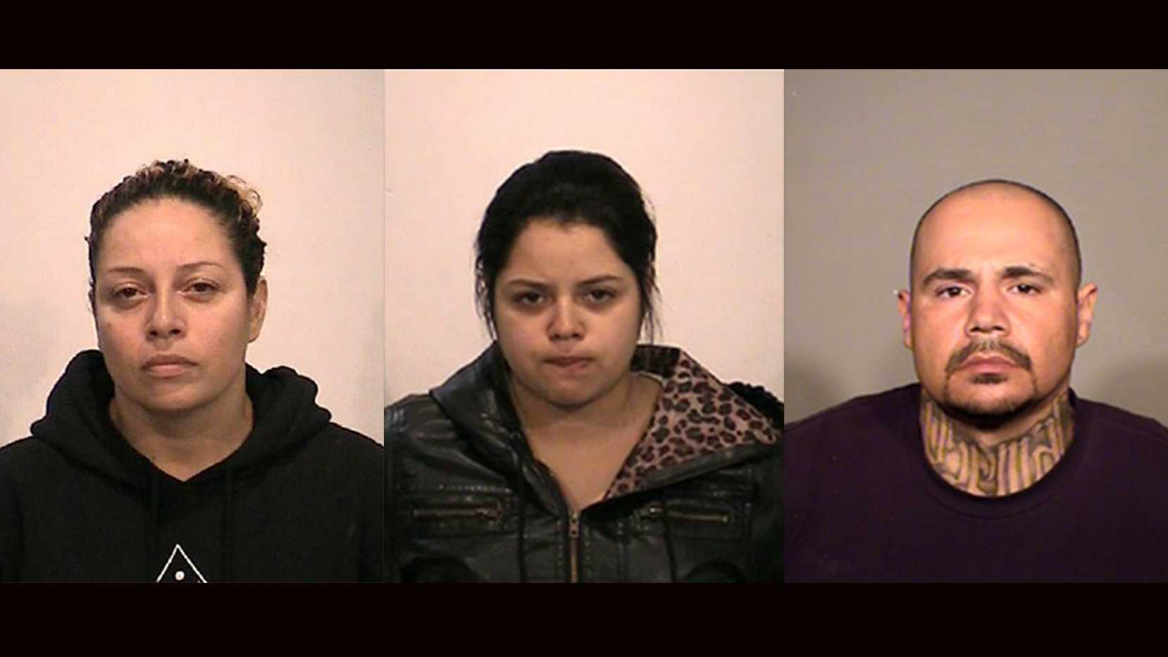 Rosemary Bazan (left), 38, Salyce Bazan (middle), 19, and Manuel Flores (right), 38, were arrested Tuesday on elder abuse charges, police said.