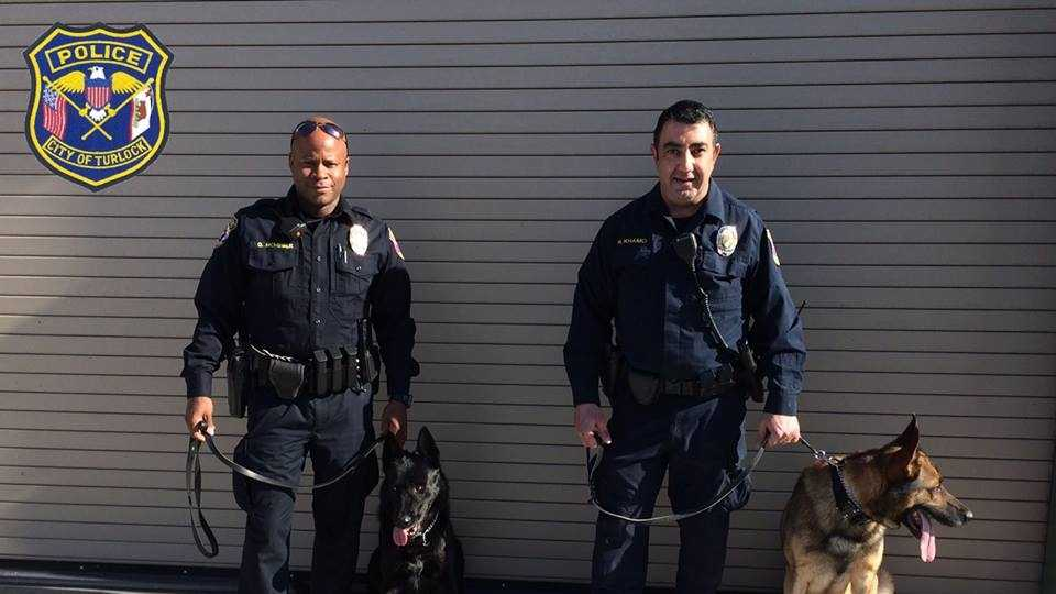 Officer Queray McMihelk with K9 Officer Keyser (left) and Officer Nim Khamo with K9 Officer Varick are the newest members of the Turlock Police Department. Police shared this photo on the department's Facebook page on Tuesday, Feb. 9, 2016.