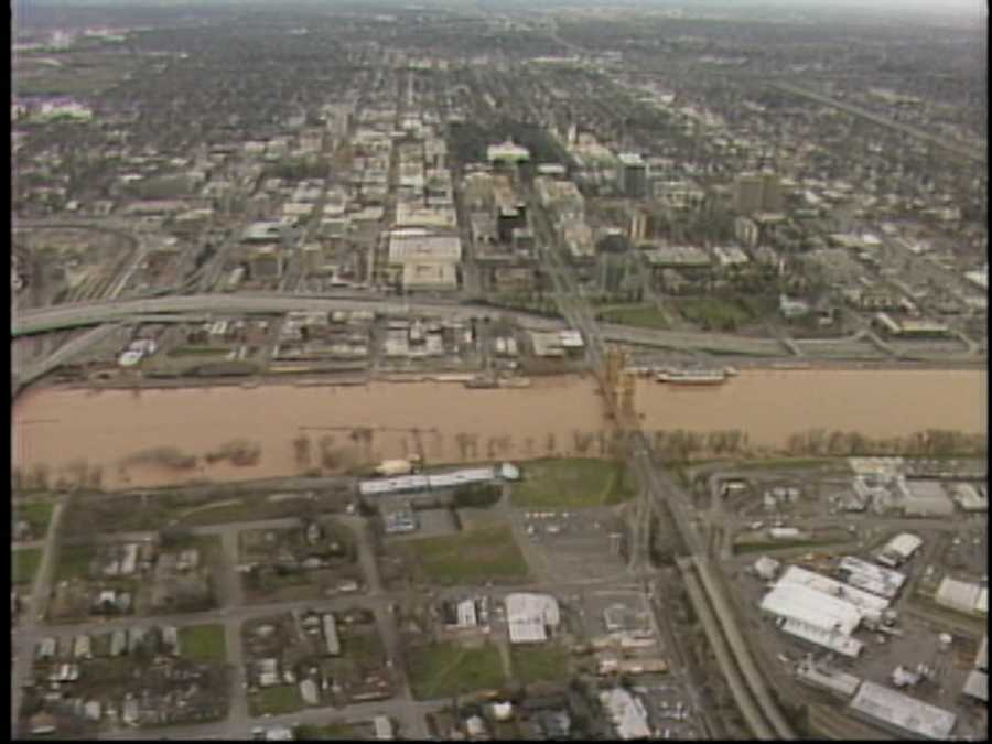 The Sacramento River water level rose after three storms moved through Northern California in February 1986. There was only a few feet between the bottom of Tower Bridge to the water.