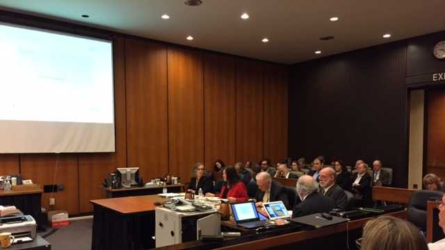 Attorneys present their arguments about California's high-speed rail project at a hearing in Sacramento.