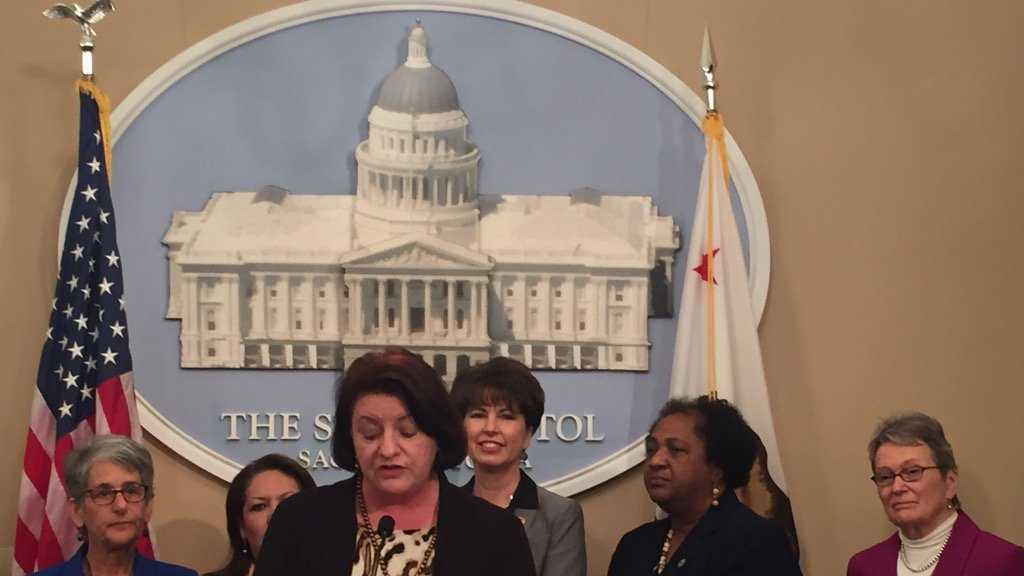 Members of the California Legislative Women's Caucus introduce bills on Thursday, Feb. 11, 2016, aimed to close the wage gap between men and women and make it easier for new parents to take time off.