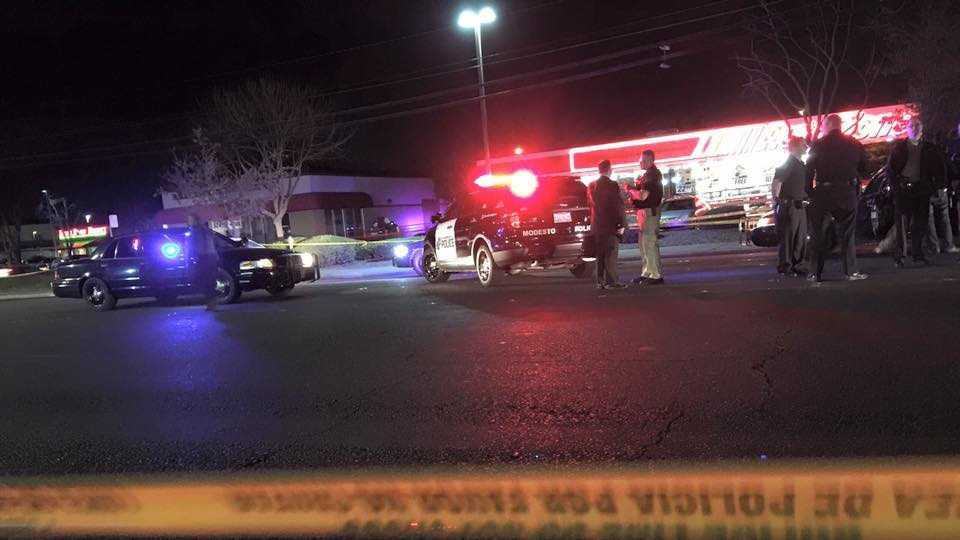 A man was taken to the hospital after being shot by a police officer in Modesto Sunday evening.