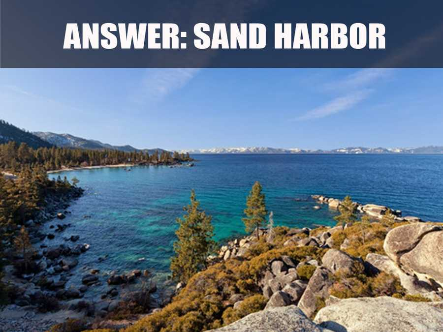 Sand Harbor has 55 acres of sandy beaches, rocky coves, forests and lake views. (Source: http://parks.nv.gov/parks/sand-harbor/)