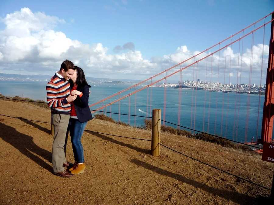 4.) I proposed to my wife in a horrible striped sweater overlooking the Golden Gate Bridge. I handed my camera to a nearby photographer and asked him to start snapping pictures.
