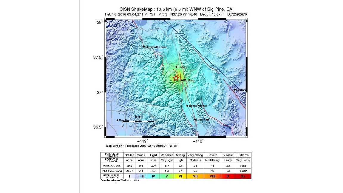 A shakemap from the U.S. Geological Survey of a 4.8-magnitude earthquake that hit near Big Pine, California, on Tuesday, Feb. 16, 2016.