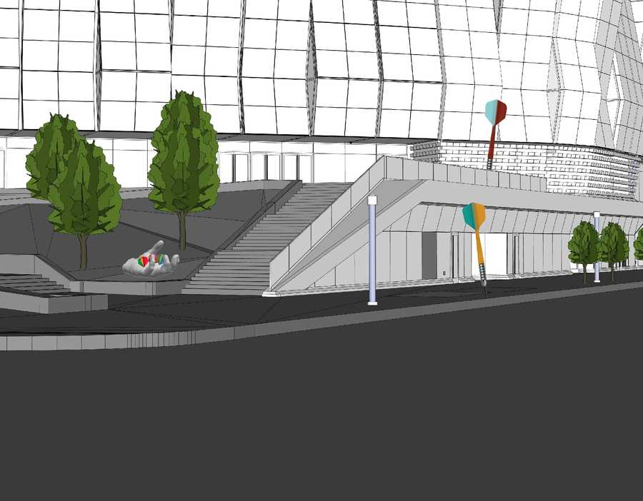 This rendering shows another view of one of the giant bronze hands that will be holding pieces of a dart game frame at the 5t and L streets entrance of the arena. Two multi-colored, 10-foot fiberglass and stainless steel darts will be installed in the sidewalk.Of the $1.5 million investment, $1 million was gifted by Sacramento philanthropist and artist Marcy Friedman and $500,000 is coming from money set aside in the entertainment and sport complex's construction budget.