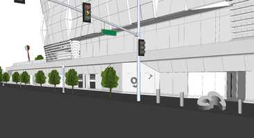 """The last rendering shows one of the six multi-colored, 10-foot fiberglass and stainless steel darts in the backgound. Giant, concrete dart board numbers will be installed in the building and etched into the sidewalk along L Street.The commission also approved to install a sound sculpture by San Francisco-based artist Bill Fontana, costing up to $330,750. A """"matrix"""" of 34 small speakers will be installed in planters on the plaza and two on the Green Wall sections, to produce """"an immersive sound experience."""" The piece will create a sound mix to reflect Sacramento and the building itself."""