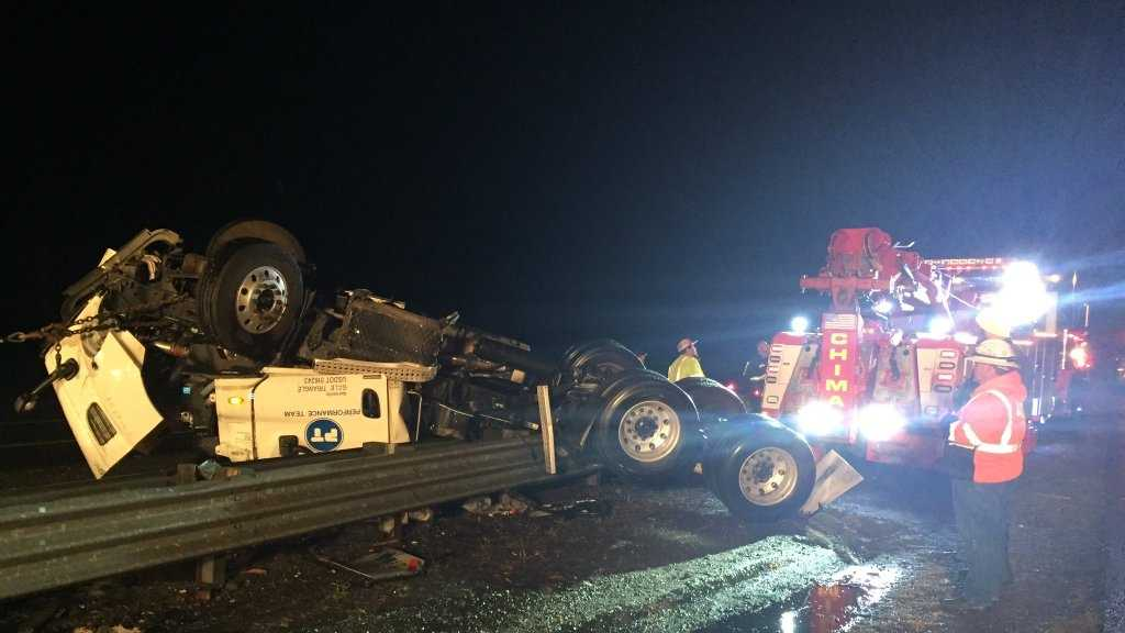 A big rig crash has closed the number one lane on southbound highway 99 near Arno Road Wednesday night.