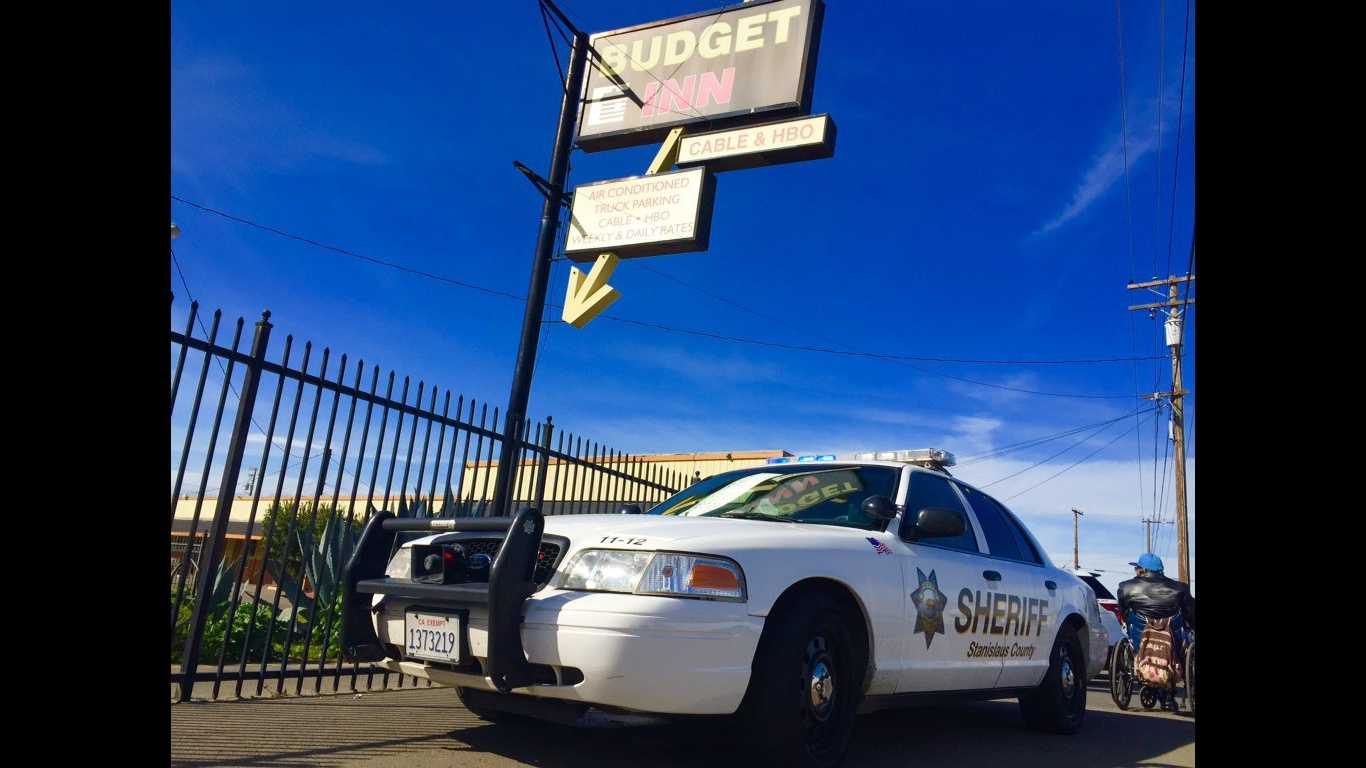 The Stanislaus County Sheriff's Department investigates a suspicious death at a Modesto motel on Friday, Feb. 19, 2016.