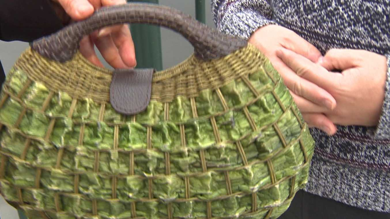 Stockton Mayor Anthony Silva shows an example of a hand-made hyacinth purse. He brought the purse to Stockton after visiting a sister city in the Philippines.