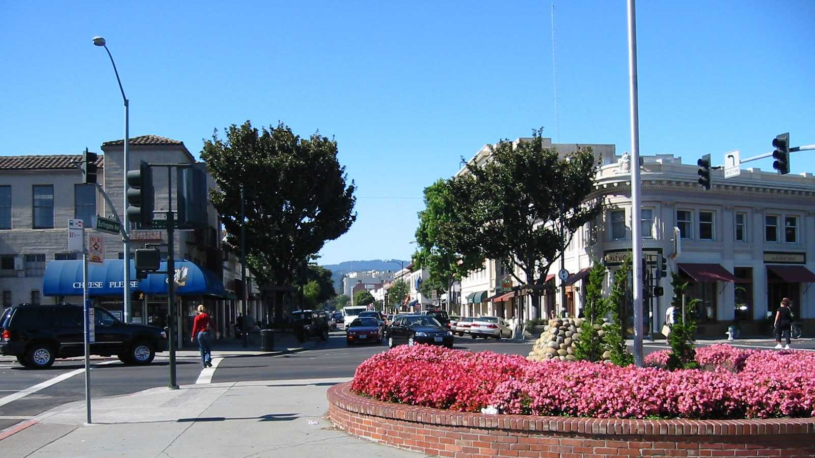 Photo looks west onto Burlingame Avenue and the city's Business District.