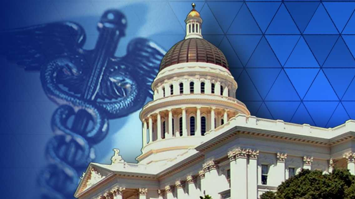 California State Capitol over graphic of a caduceus