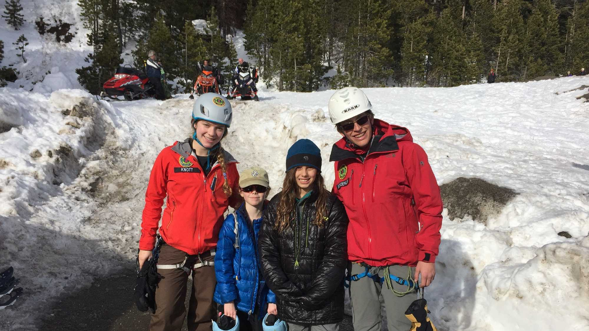 Marin County Search and Rescue youth member Lauren Knott and Malcolm Schoenlien pose with 10-year-old Samantha White and her friend on Sunday, Feb. 21, 2016. Crews rescued Samantha after she fell into a hole near the Boreal Ski Resort, in the Castle Peak area.