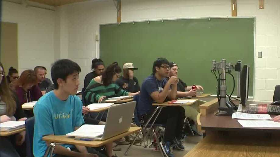 College students attend class