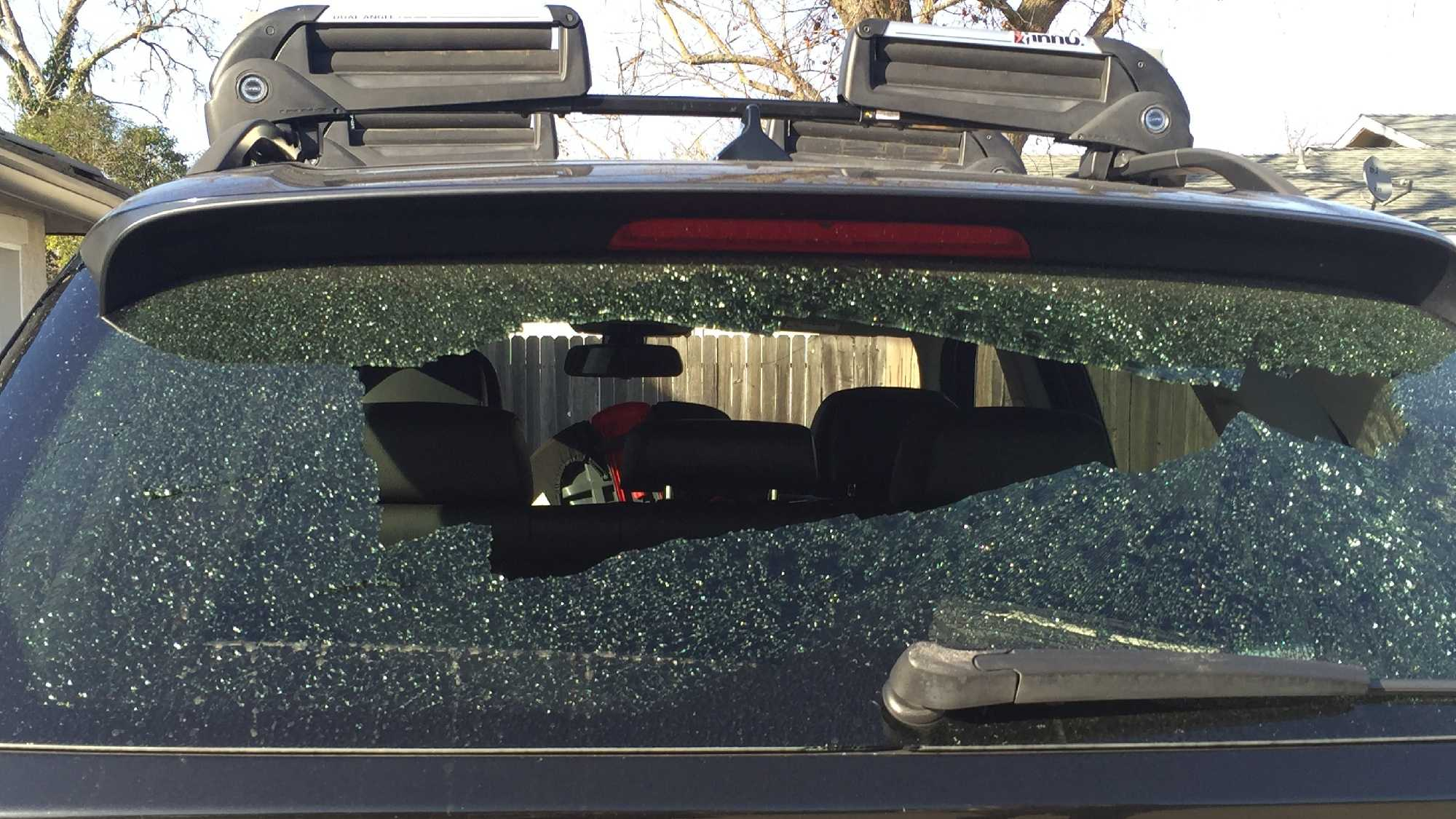 The back of Tamara Rose's SUV was shattered by a mystery object on Tuesday, Feb. 23, 2016, while driving children home from school.