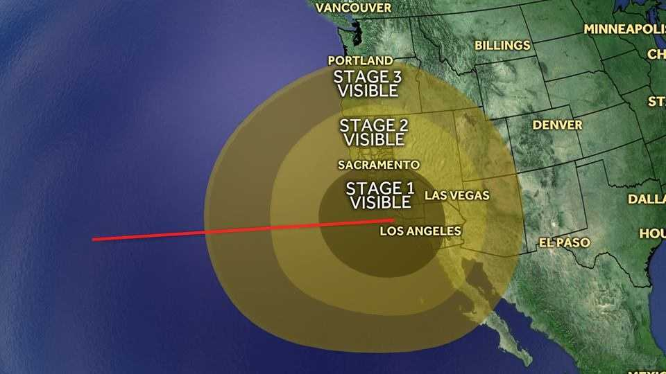The trail of the Minuteman III missile will be visible for much of the West Coast. Here's a rough outline of where you might see it.