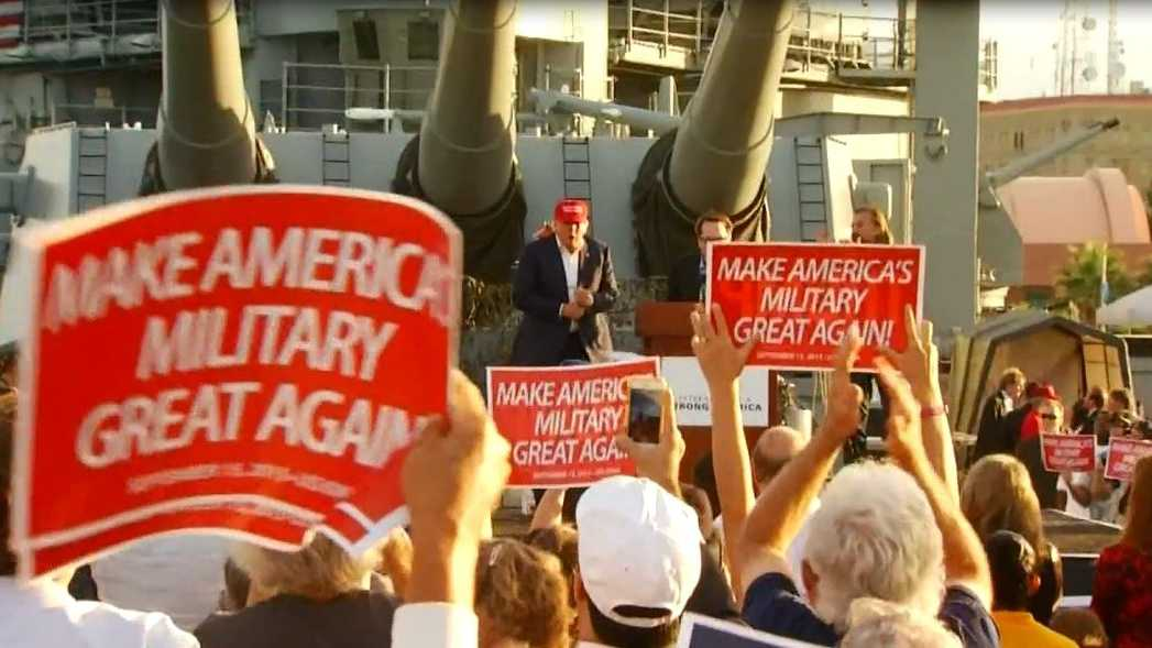 Donald Trump appears at a rally on board the USS Iowa in San Pedro, Calif. on Sept. 15, 2015.