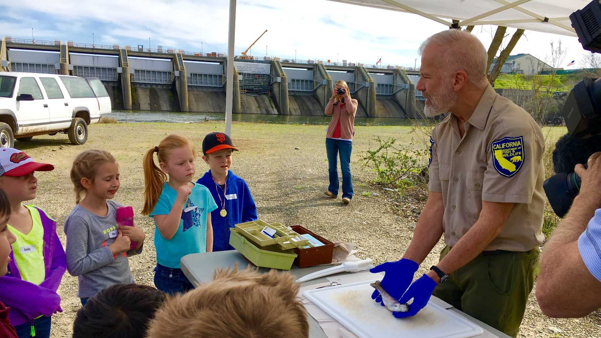 Dewey Elementary School first-grade students learn about fish in the American River during a field trip to Nimbus Dam on Friday, Feb. 26, 2016.
