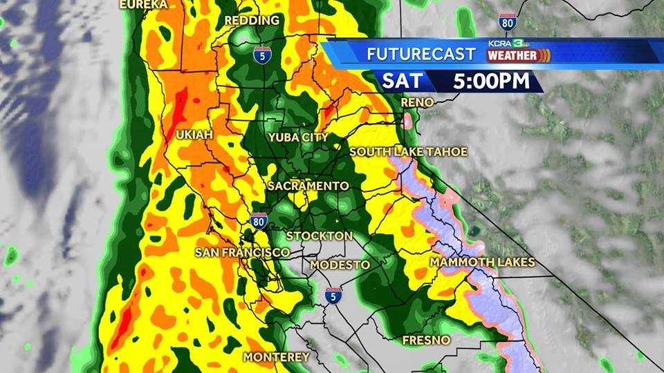 Heavy rain is expected to move into the Northern California by 5 p.m. on Saturday, March 5, 2016, KCRA's Weather team said.