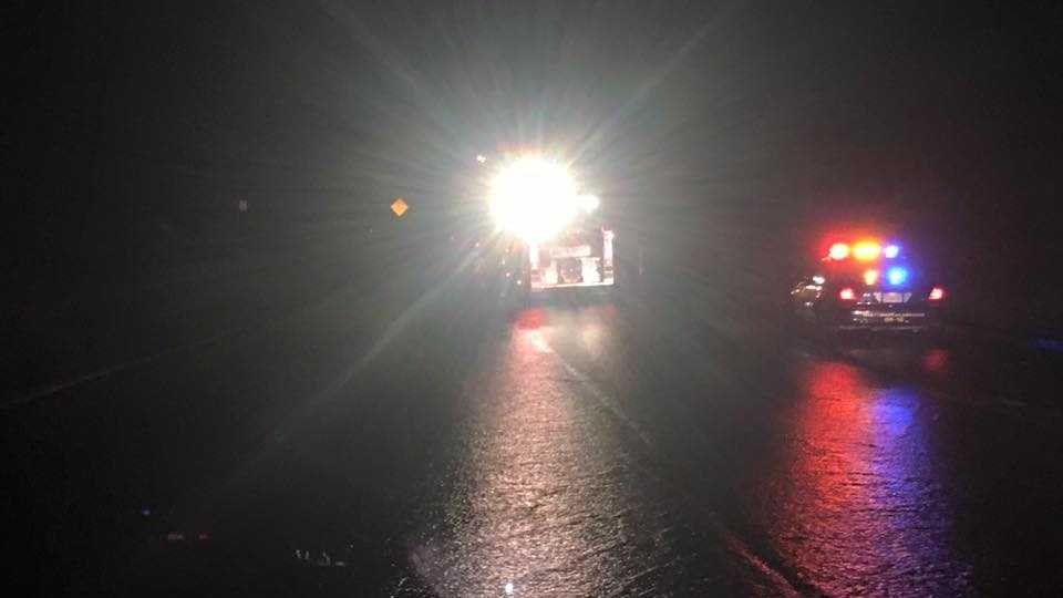 A 48-year-old woman has died after a car drove into flood waters on northbound Highway 70 at Highway 65 on Saturday night, California Highway Patrol said.