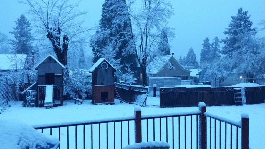 A decent amount of snow fell over the weekend in Foresthill.