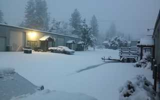 Snow was falling Monday at pretty low elevations, like in Grass Valley near the airport.